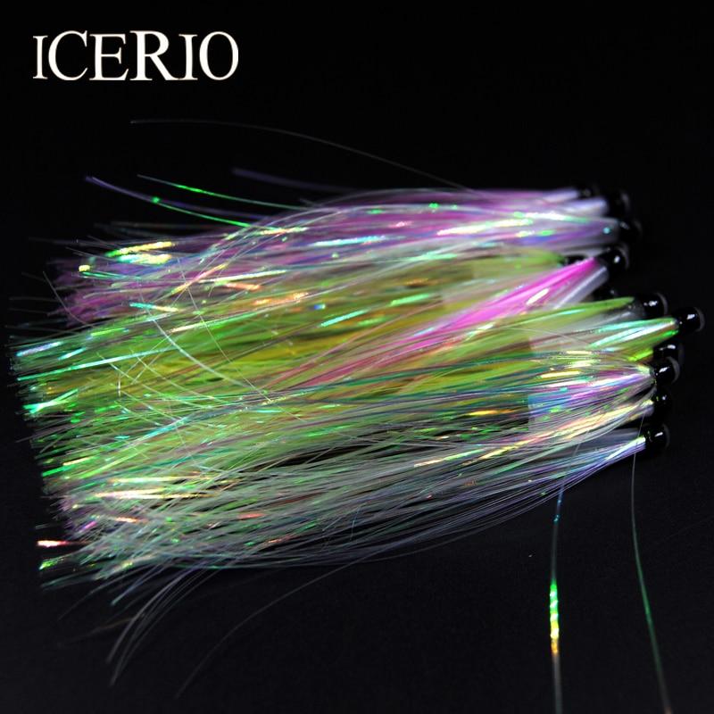 ICERIO 4PCS Tube Fly Fishing Salmon Trolling Flash Series Buck-Tailing Tube Flies