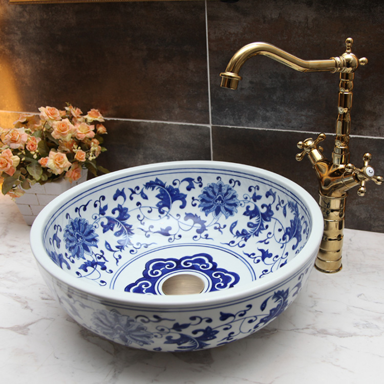 Blue And White China Painting Wash Basin Bathroom Vessel Sinks Counter Top Color Art