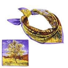 60x60CM Oil Painting Print Small Square Scarf For Women Spring Autumn Female NeckerChief Bandana Fashion Silk Scarves & Wraps
