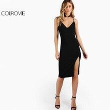 COLROVIE Pencil Slit Bodycon V Neck Dress