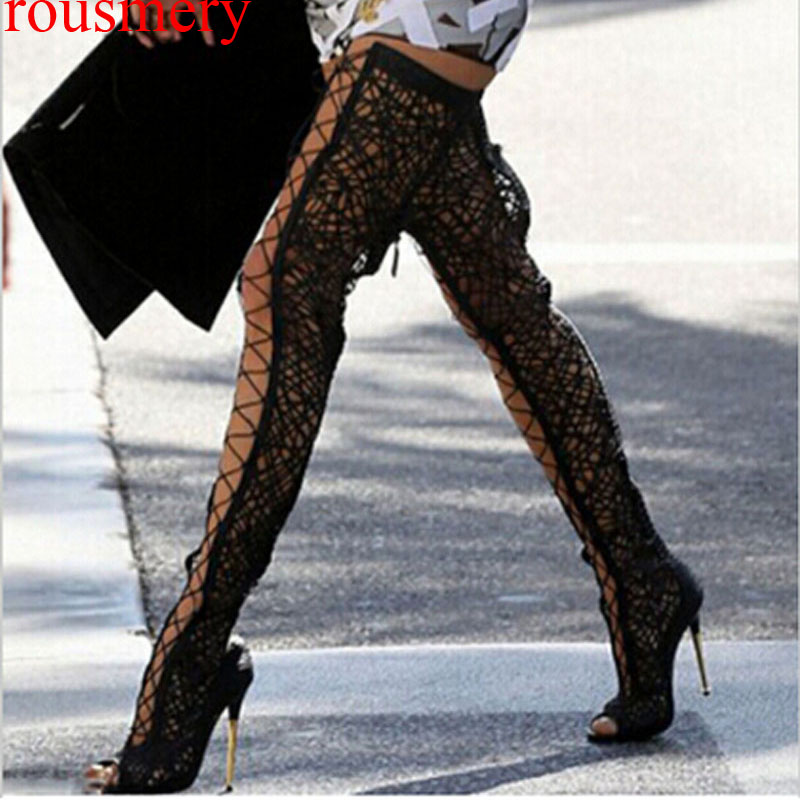Sexy Fish toe Eyelash Lace Braided Cut out Thigh Boots Metal High Heels Shoes Woman Over Knee Lace Up Summer Long Sandal Botas summer cut outs gladiator sandals boots women sexy peep toe over knee boots high heels thigh high sandal boots