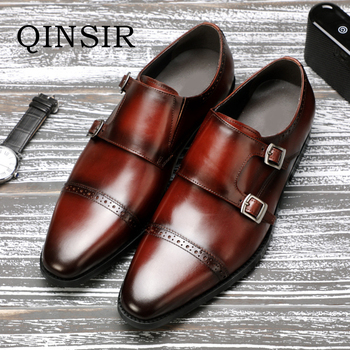 Classic Handmade Genuine Leather Double Buckles Men's Dress Shoes Formal Wedding Office Man Monk Shoes Strap Footwear Breathable