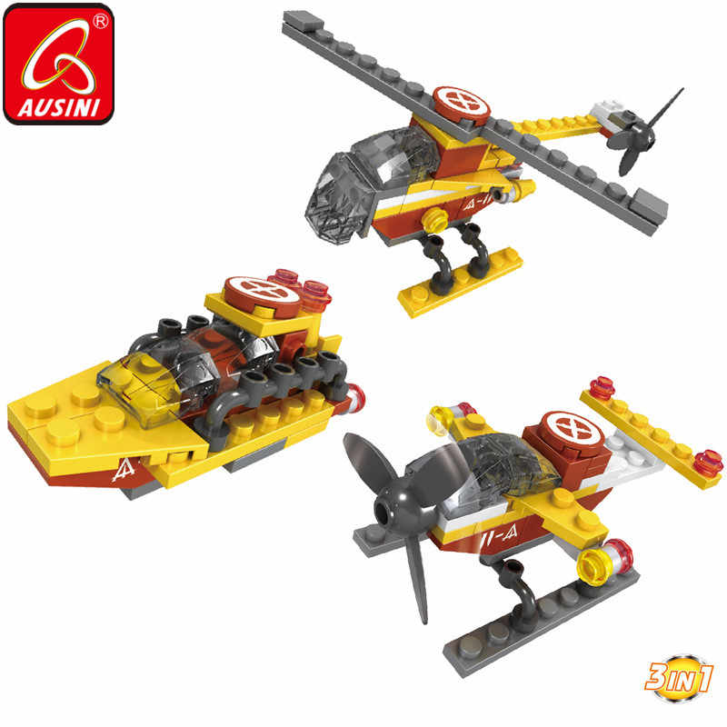 AUSINI Constructor City Building Blocks Plane Helicopter Toys for Children Aircraft Spaceship Assembly Kids Creator Model Bricks