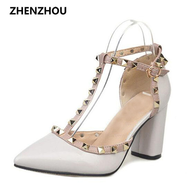New Free shipping 5CM 2017 Pumps new shoes T belt buckle hollow rivets pointed high-heeled patent leather high heels shoes women