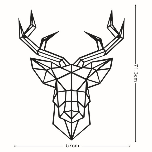 Geometric Deer Head Wall Sticker Can Be Removed Geometry