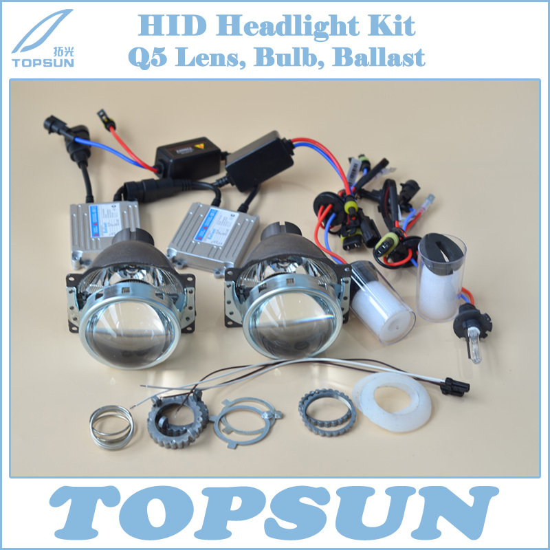 Car Lamp Kit H4 Projector Lens 3 Inch Q5 Koito Bifocal, 35W HID Xenon Headlight Bulb D2H and Ballast car light kit 3 0 inch original q5 bifocal projector lens and 35w cnlight hid xenon headlamp bulb d2h free shipping