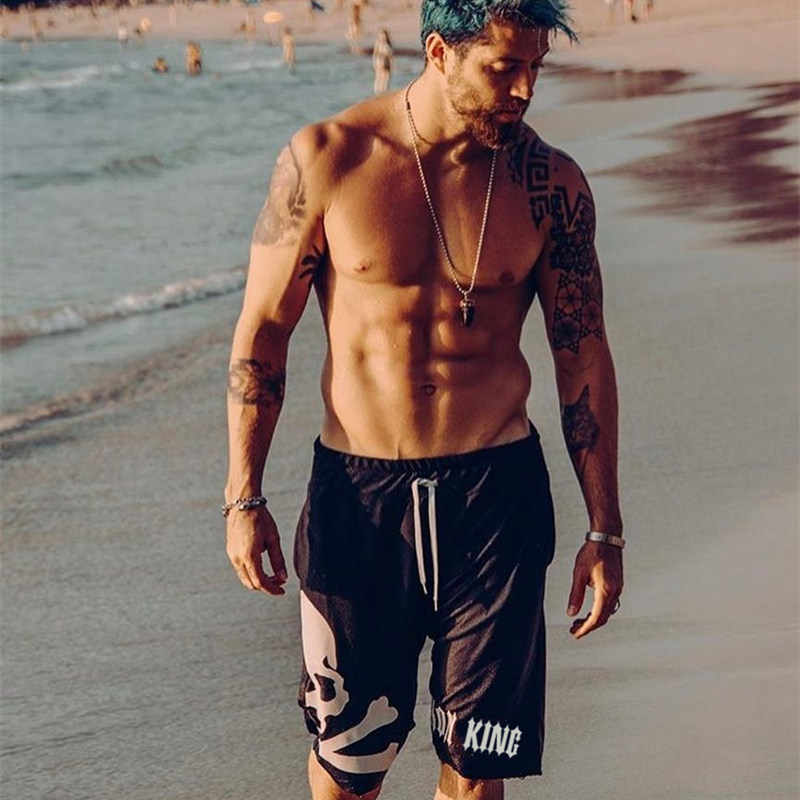 Men Cotton Beach Shorts Bottoms Gyms Fitness Bodybuilding Man Casual Fashion skull Print Jogger Workout short Pants Sweatpants