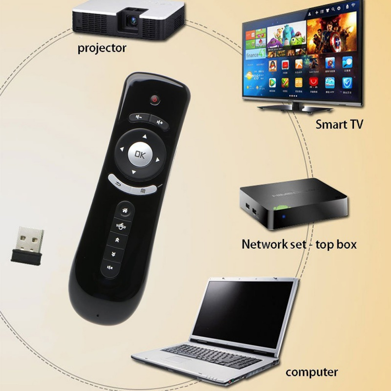 T26 Fly Air Mouse Wireless 3D Gyro Motion Stick Remote Control For PC Smart TV computer