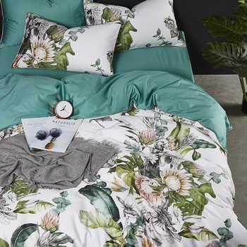 Di lusso 600TC cotone Egiziano Europeo fiori di stampa set di biancheria da letto completa regina king size copertura del duvet federa lamiera piana set #/