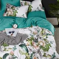 Luxury 600TC Egyptian cotton European flowers print bedding sets full queen king size duvet cover pillowcase flat sheet set #/