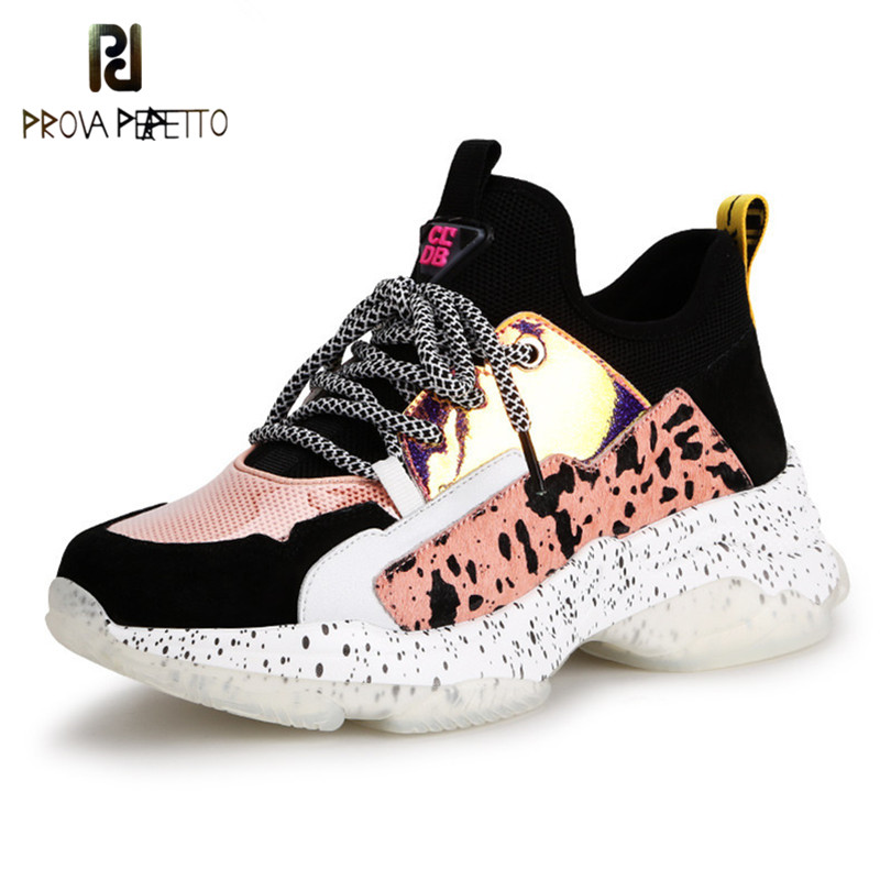 Prova Perfetto 2019 Fashionable Casual Women's Shoes Mixed Colors White Lace Up Sneakers Female Platform Shoes Breathable Soft