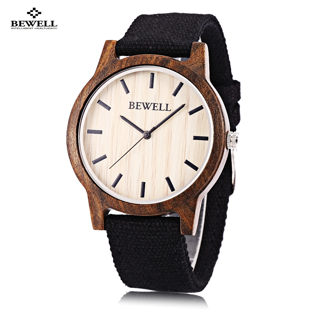 Bewell Wooden Quartz Watch Men Women Canvas Band Japan Movt Wristwatch infrared remote control rc black