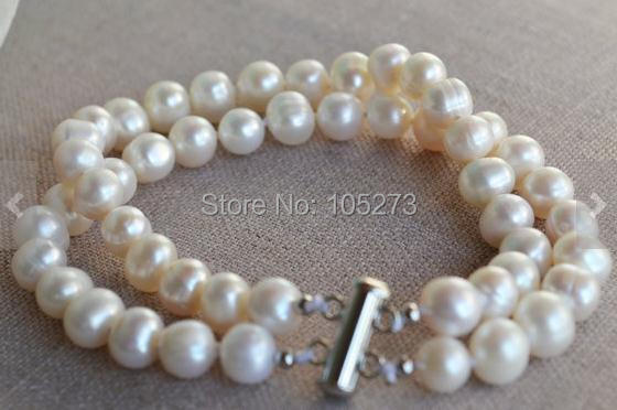 New Arriver Pearl Bracelet 8 Inches 2 Rows 8-9mm White Color Freshwater Pearl Bracelet Wedding Party Jewelry Wholesale