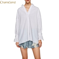 Chamsgend Bow Sweet Striped Loose Women Shirts Blouses 2017 Loose Oversized Long Sleeve Ladies Tops Blouses