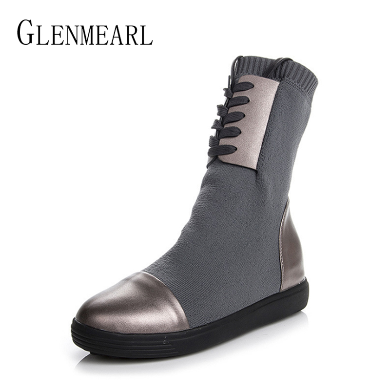 Women Boots Genuine Leather Winter Shoes Platform Wool Height Increasing Martin Boots Woman Shoes Casual Ankle Boots Warm DE