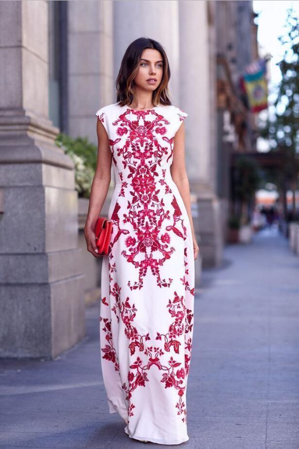Women Embroidery Flower Dress Sleeveless Beach Long Maxi Dress Floor Length Wedding Evening Party Fomal Slim Waist Print Dress