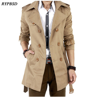 Trench Coat Men Trench Coat Spring Double Breasted Gabardina Larga Hombre Clothing Long Jackets Coats British Long Overcoat Men