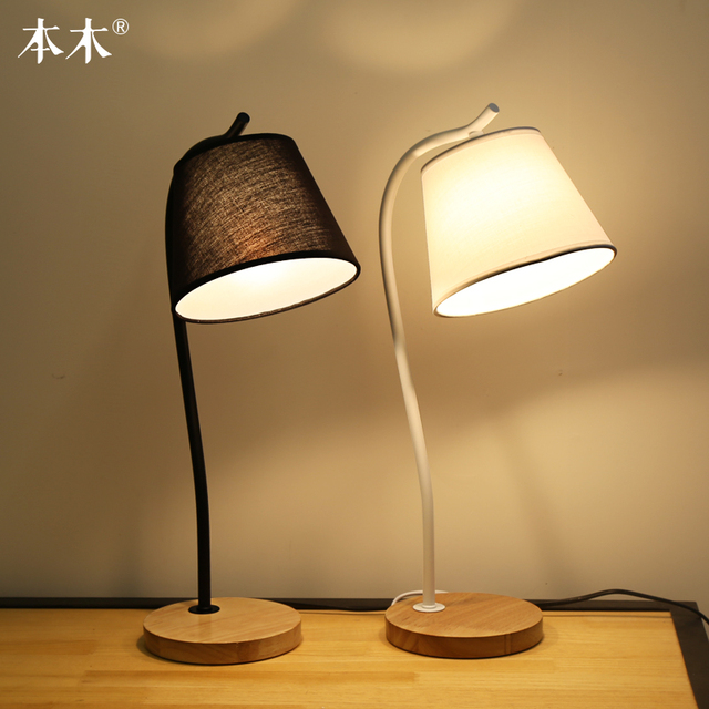 Simple Fabric Table Lamp Dimmable Linen Table Lamps Bedroom Bedside ...