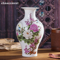 Chinese style Peony And Bird Ceramic Vase Fine Porcelain Vases For Artificial Flower Decoration Vases