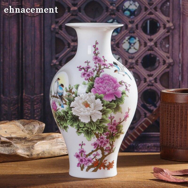Ev ve Bahçe'ten Vazolar'de Çin tarzı Şakayık Ve Kuş Seramik Vazo Porselen Vazolar yapay çiçek Dekorasyon Vazolar title=