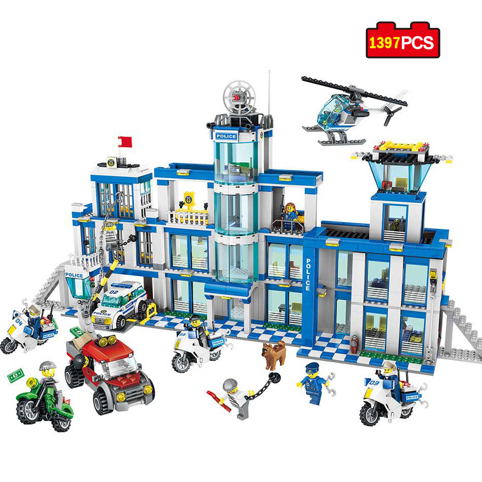 1397pcs City Police Series Police Station Model Building Blocks Compatible Legoe Assembled DIY Brick Kid Educational Toy For Kid the new jjrc1001 lepin city construction series building blocks diy christmas gift for kid legoe city winter christmas hut toy
