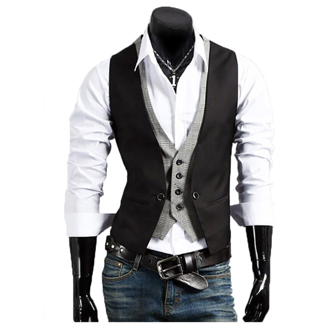 2017 new British gentleman men Slim vest Men's Fashion waistcoat Business Suit Vest Men Gilet Fashion Waistcoats
