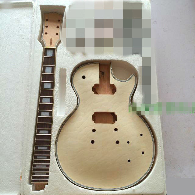 DIY Electric Guitar Body with Rosewood Fingerboard Neck for LP style diy electric guitar kit unique body rosewood fingerboard neck for lp guitar body african mahogany with a 15 mm of american har