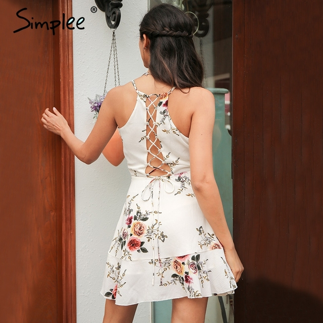 Simplee A-line ruffles floral print summer dress women Deep v neck backless bandage sexy dress Casual party short dress