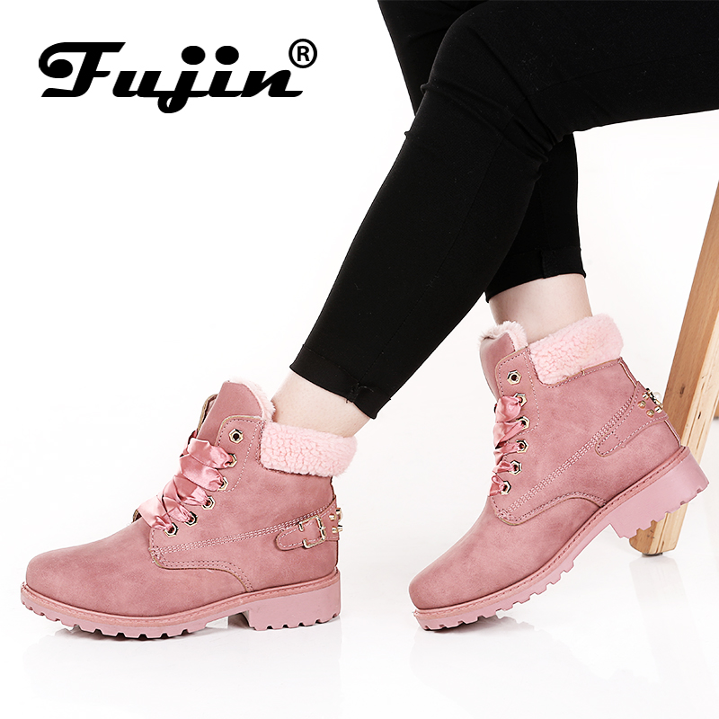 Fujin New Pink Women Boots Lace up Solid Casual Ankle Boots Booties Round Toe Women Shoes winter snow boots warm british style
