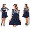 Elegant 2016 plus size women clothing dress L-6xl Autumn printing Dress casual women Neck Tunic party dresses big size vestidos