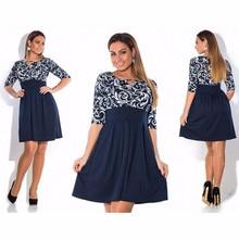 Elegant 2016 plus size women clothing font b dress b font L 6xl Autumn printing font