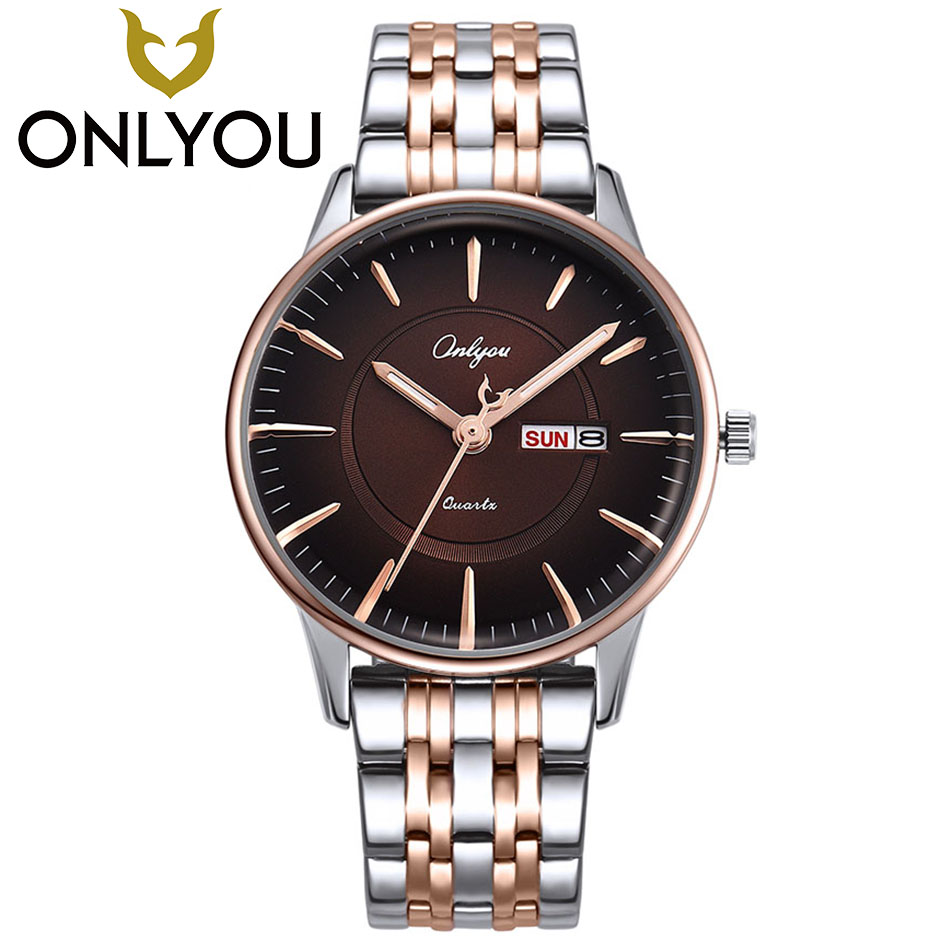 ONLYOU Ladies Gift New Style Watch Mens Creative Design Retro Stainless Steel Band Calendar Quartz Fashion Clock Wristwatch ladies gift new style watch enmex creative design starlight in the night sky simple face steel band quartz fashion wristwatch