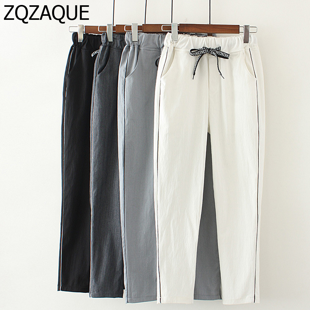 Summer Autumn New Girls Casual Elastic Waist Cotton Linen Harem Pants Women's Fashion Ankle-Length Pants With Pockets SY1273