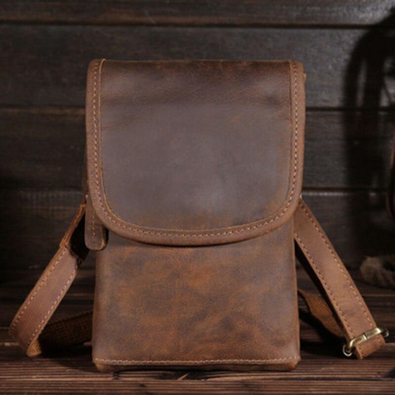 Fanny Waist Bag Genuine Leather Belt Bag Phone Card Bum Pack Pouch Casual Multi Hip Leg Men's Shoulder Crossbody Small Chest Bag
