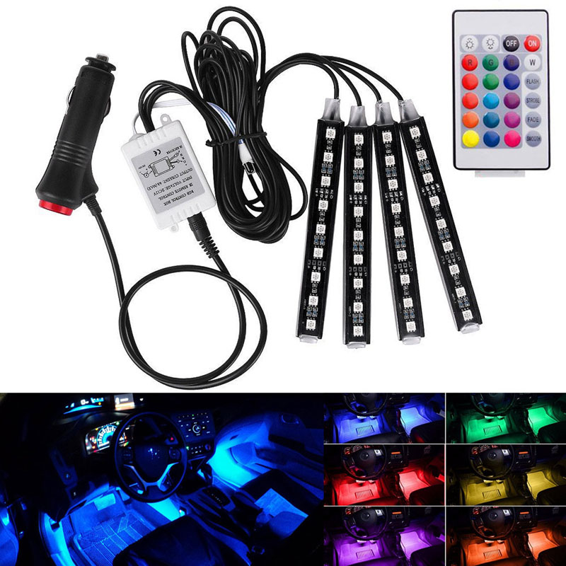 4Pcs 9 12 18LED Car Atmosphere font b Lamp b font Flexible Strips With Remote Control