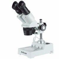 Microscópio estéreo para a frente afiada -- amscope fornece microscópio estéreo para a frente afiada 20x-40x sku: SE304R-P
