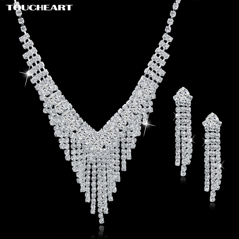 TOUCHEART Wedding African Beads Jewelry Set Crystal Silver color Long Tassel Earings Statement Necklaces For Women Set150009
