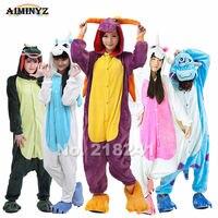 Purple Dragon Unisex Adults Flannel Hooded Pajamas Cosplay Cartoon Animal Onesies Sleepwear Suit Nightclothes