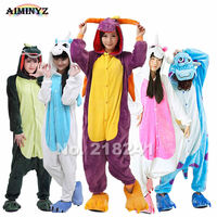 Purple Dragon Unisex Adults Flannel Hooded Pajamas Cosplay Cartoon Animal Onesies Sleepwear Suit Nightclothes