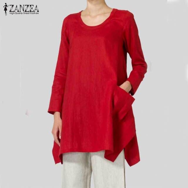 c77e855d5a749 2018 ZANZEA Women Tops Autumn Vintage Cotton Blouse Shirts Long Sleeve  Asymmetrical Split Hem Baggy Long Blusas Plus Size