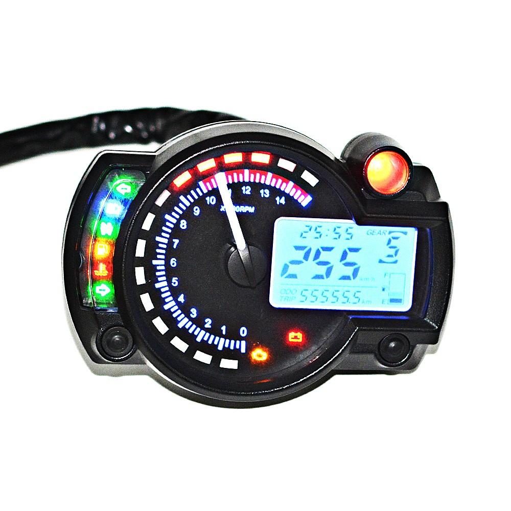 Blue LCD Digital Backlight Motorcycle Speedometer Tachometer Odometer  MotorBike Instrument ATV Scooter Dirt bike 9- ...