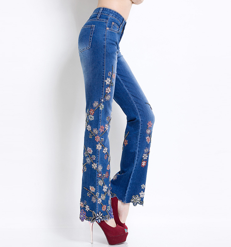 KSTUN Women Jeans with Embroidery High Waist Blue Denim Pants Bell Buttom Jeans Rhinestones Embroidered Fashion Quality Brand 18