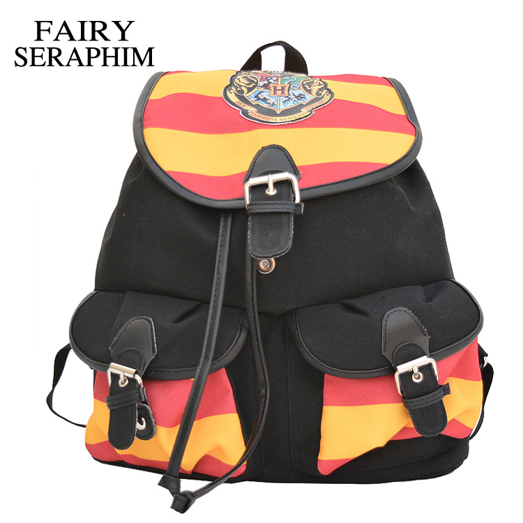 FAIRY SERAPHIM Harry Potter Backpack Printing Stripped Canvas Cartoon flap cover pockets Children School bag Backpacks