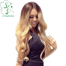 Glueless Full Lace Human Hair Wigs Ombre Loose Wave #2/613 Color Long Blonde Full Lace Wig With Bleached Knots For White Woman