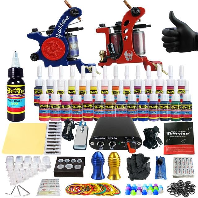 Solong Татуировки Полный Комплект Татуировки для Начинающих Starter 2 Pro Пулеметы 28 Чернила Питания Иглы Захваты Советы TK204-35