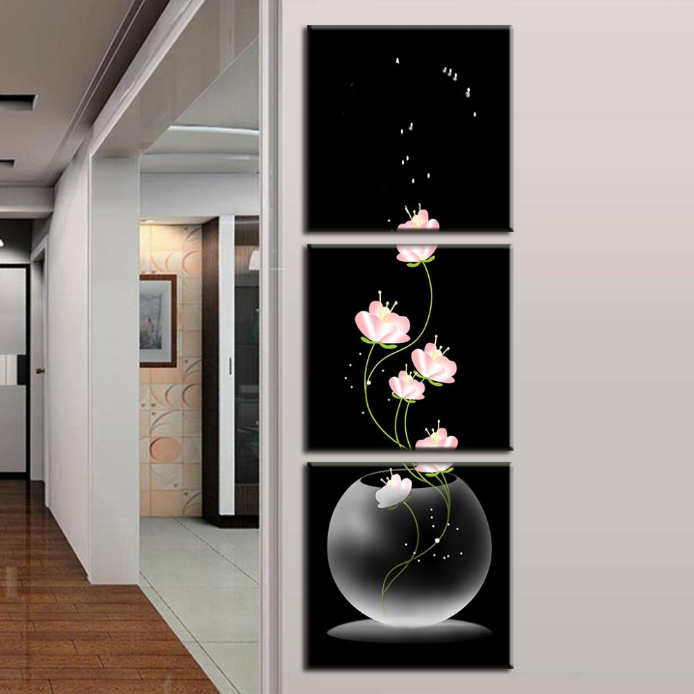 Vertical Wall Decor 3 Piecesset Modern Printed Canvas Paintings Flowers Porch