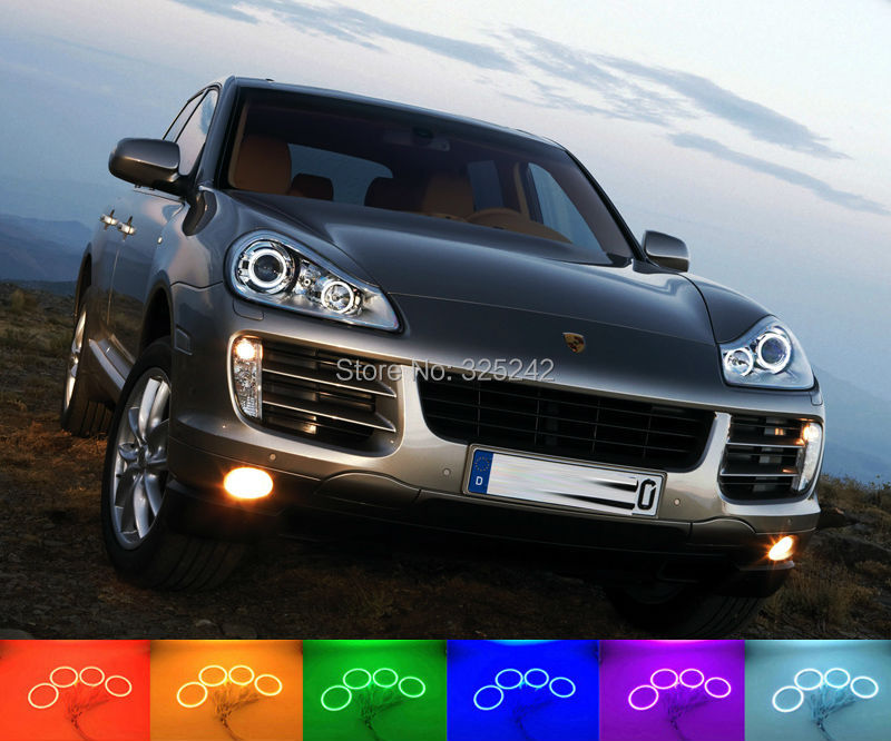 For Porsche Cayenne 957 2007 2008 2009 2010 Excellent Angel Eyes Multi-Color Ultra bright RGB LED Angel Eyes kit Halo Rings 2017 men gift enmex brief design gentlemancreative geometric designs floating pointer 3d dail with young fashion quartz watches