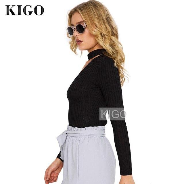 KIGO Autumn Long Sleeve Romper Sexy Black V Neck Black Halter Jumpsuit Women Overalls Laides Bodysuit Jumpsuit 2016 KZ1466H