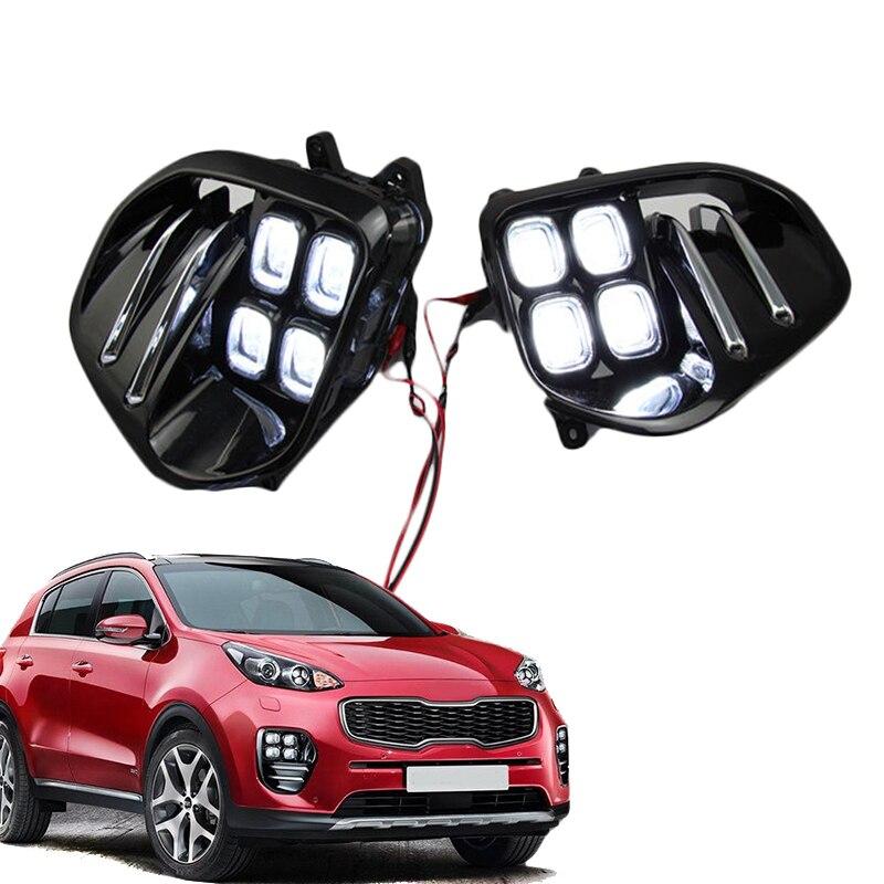 Авто белый светодиодный свет ДРЛ светодиодный Туман свет лампы дневного света набор для Kia Sportage QL kx5 2016 2017 +