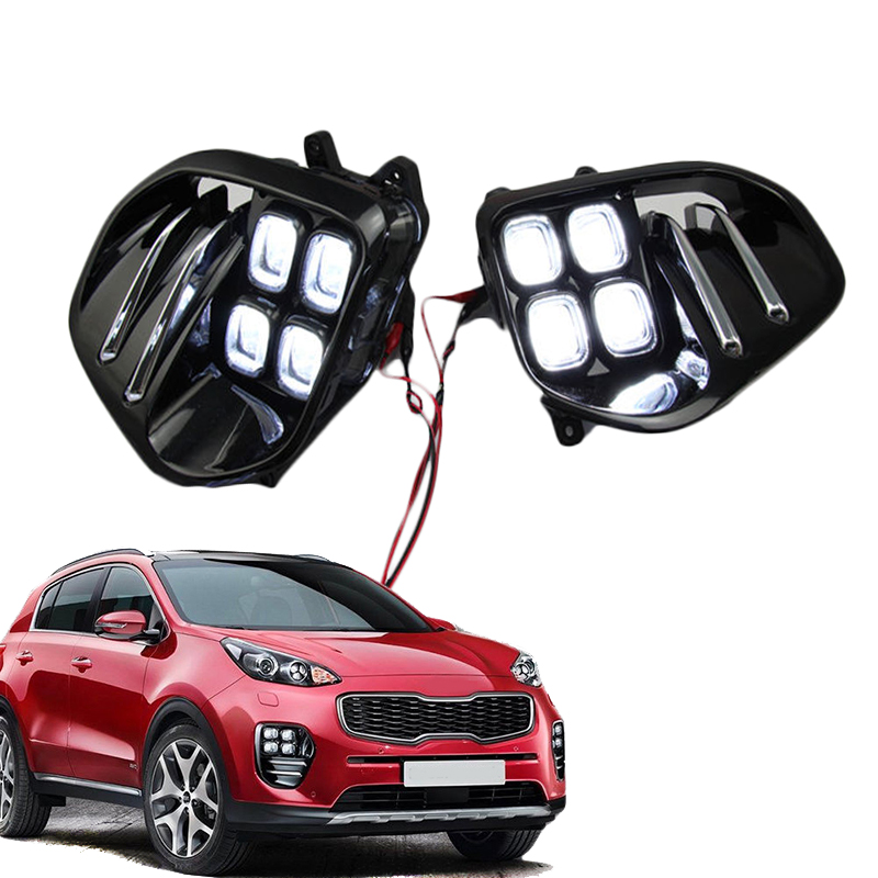 Auto Car White LED DRL Light LED Fog Light Lamp Daytime Running Light Set For KIA Sportage QL kx5 2016 2017+ 2 pcs set stainless steel car air vent circle trim air conditioner protection sticker for kia sportage kx5 ql 2016 2017 parts